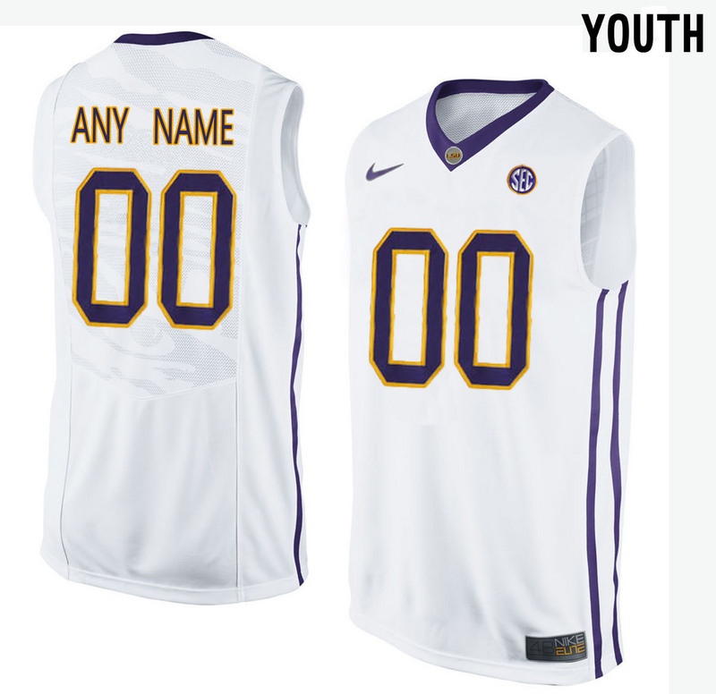 Youth LSU Tigers Customized College Basketball Elite Jersey White