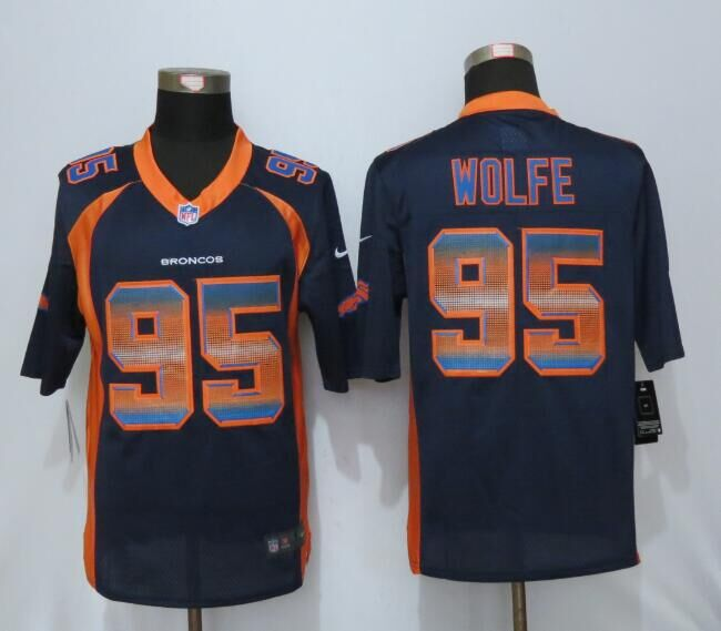2016 Denver Broncos 95 Wolfe Navy Blue Strobe New Nike Limited Jersey