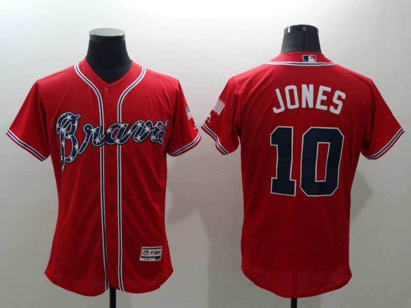 2016 MLB FLEXBASE Atlanta Braves 10 Jones red jerseys
