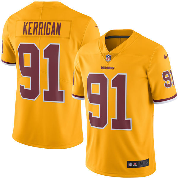 2016 Men Washington Redskins 91 Kerrigan Nike Gold Color Rush Limited Jersey
