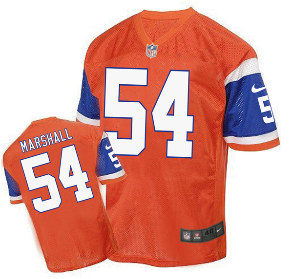 2016 Men's Denver Broncos 54 Marshall Nike Elite orange Jersey