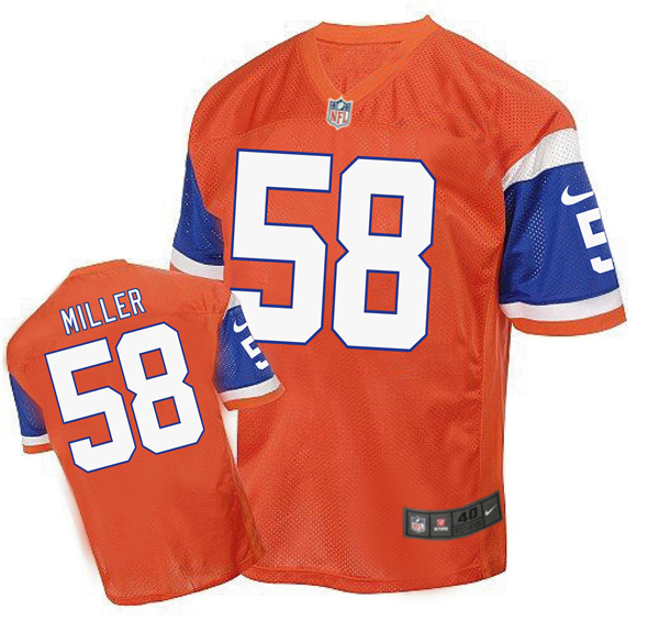 2016 Men's Denver Broncos 58 Miller Nike Elite orange Jersey