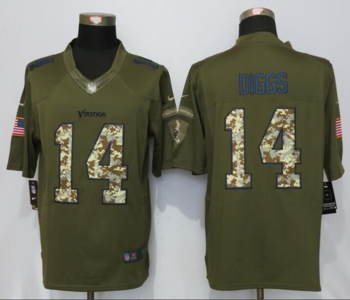 2016 Minnesota Vikings 14 Dlggs Green Salute To Service New Nike Limited Jersey
