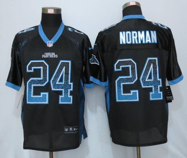 2016 NEW Nike Carolina Panthers 24 Norman Drift Fashion Black Elite Jerseys