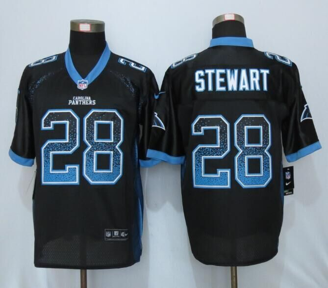 2016 NEW Nike Carolina Panthers 28 Stewart Drift Fashion Black Elite Jerseys