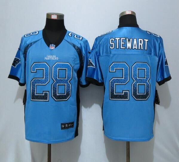 2016 NEW Nike Carolina Panthers 28 Stewart Drift Fashion Blue Elite Jerseys