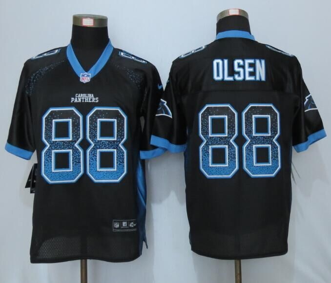 2016 NEW Nike Carolina Panthers 88 Olsen Drift Fashion Black Elite Jerseys