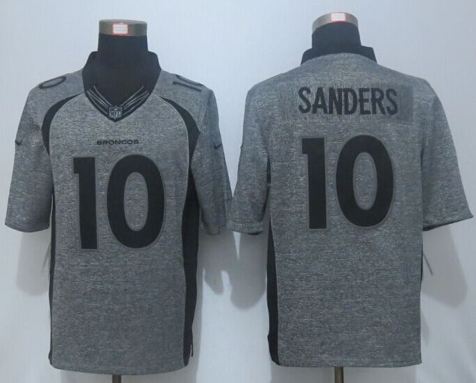 2016 NEW Nike Denver Broncos 10 Sanders Gray Men's Stitched Gridiron Gray Limited Jersey