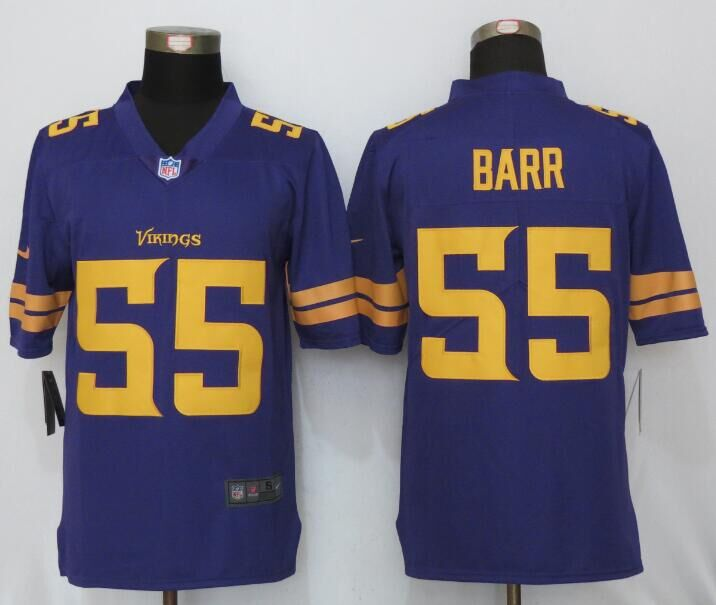2016 NEW Nike Minnesota Vikings 55 Barr Navy Purple Color Rush Limited Jersey