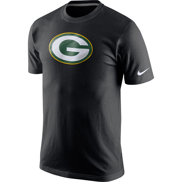 2016 NFL Nike Green Bay Packers Fast Logo T-Shirt - Black