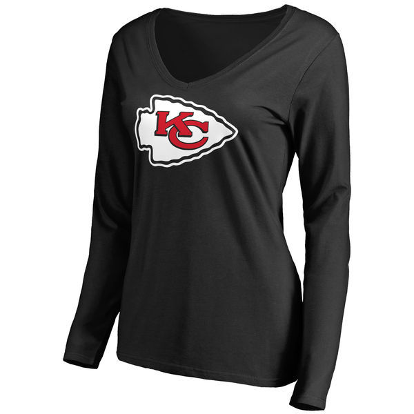 2016 NFL WOMEN'S KANSAS CITY CHIEFS BLACK PRIMARY TEAM LOGO SLIM FIT LONG SLEEVE T-SHIRT