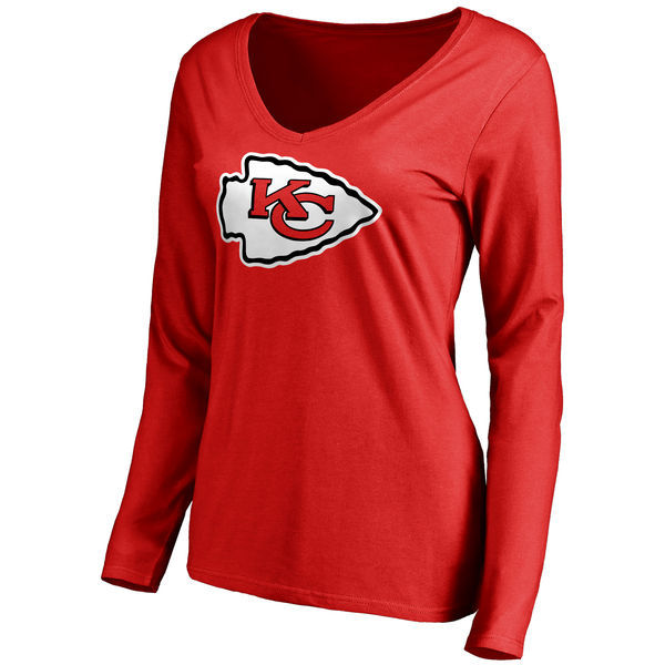 2016 NFL WOMEN'S KANSAS CITY CHIEFS PRO LINE RED PRIMARY TEAM LOGO SLIM FIT LONG SLEEVE T-SHIRT