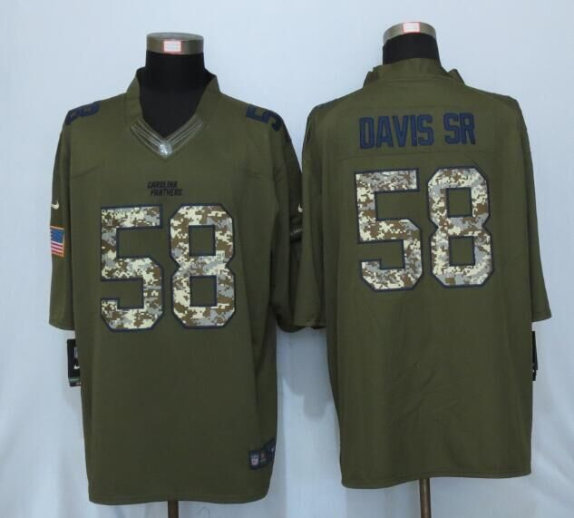 2016 New Nike Carolina Panthers 58 Davis sr Green Salute To Service Limited Jersey