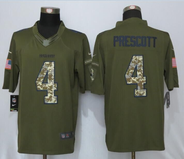 2016 New Nike Dallas Cowboys 4 Prescott Green Salute To Service Limited Jersey