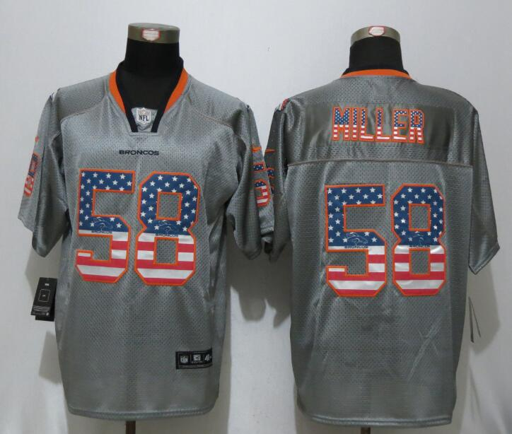 2016 New Nike Denver Broncos 58 Miller USA Flag Fashion Gray Elite Jerseys