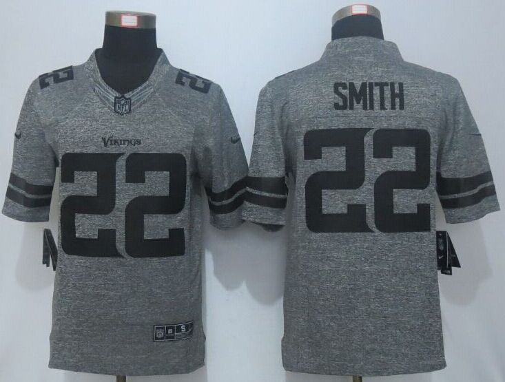 2016 New Nike Minnesota Vikings 22 Smith Gray Men's Stitched Gridiron Gray Limited Jersey.