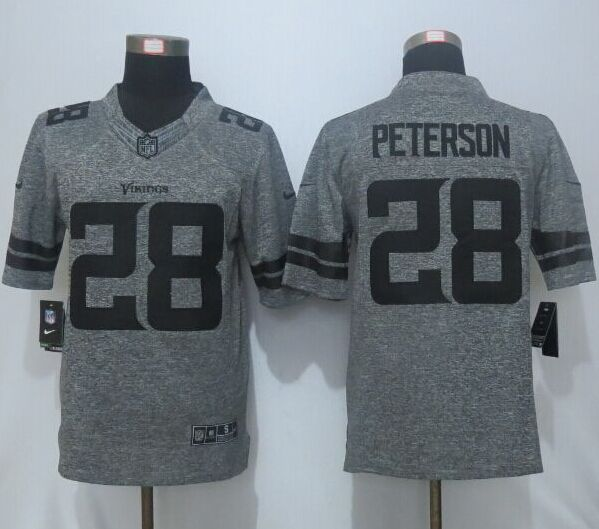 2016 New Nike Minnesota Vikings 28 Peterson Gray Men's Stitched Gridiron Gray Limited Jersey