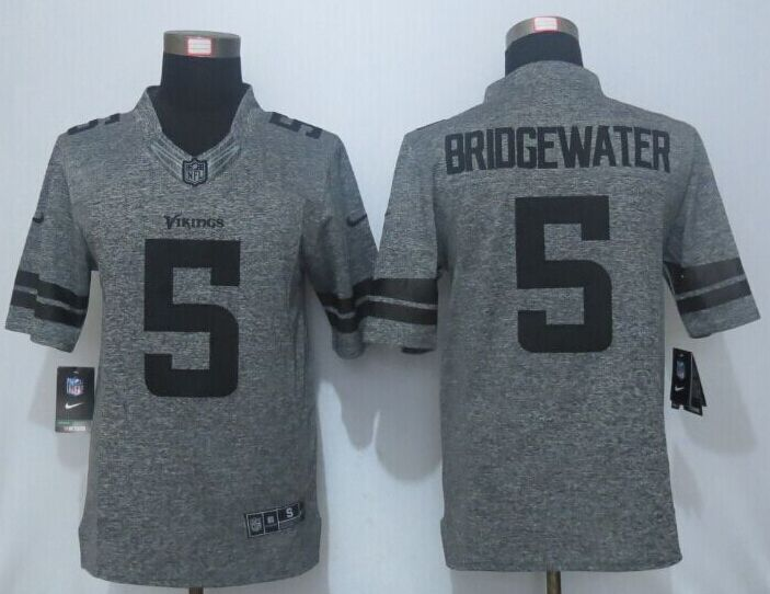 2016 New Nike Minnesota Vikings 5 Bridgewater Gray Men's Stitched Gridiron Gray Limited Jersey.