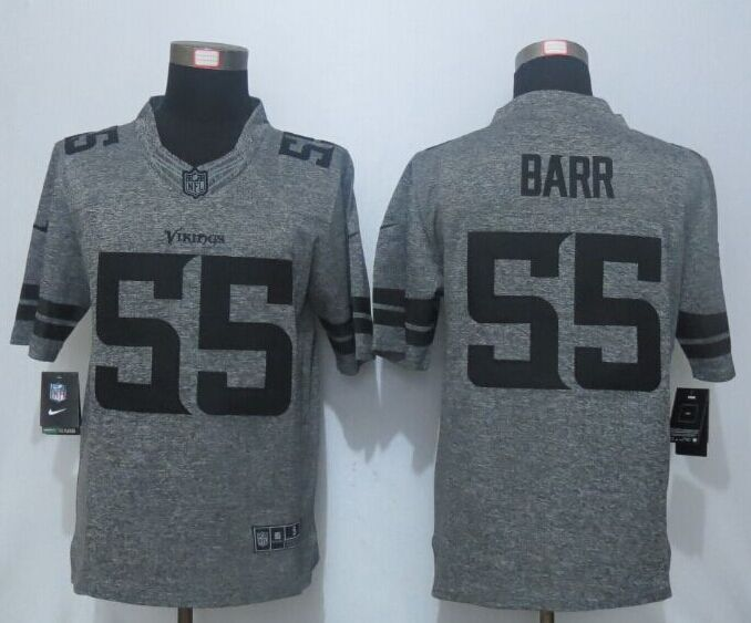 2016 New Nike Minnesota Vikings 55 Barr Gray Men's Stitched Gridiron Gray Limited Jersey