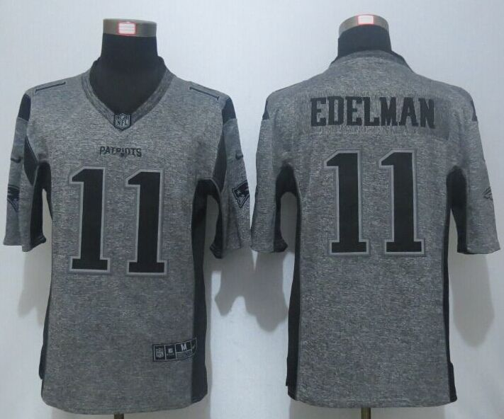 2016 New Nike New England Patriots 11 Edelman Gray Men's Stitched Gridiron Gray Limited Jersey