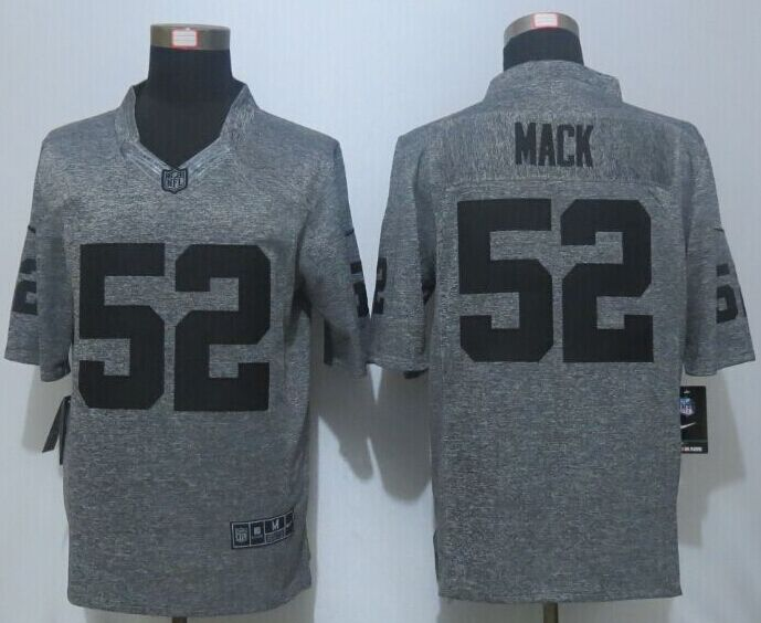 2016 New Nike Oakland Raiders 52 Mack Gray Men's Stitched Gridiron Gray Limited Jersey