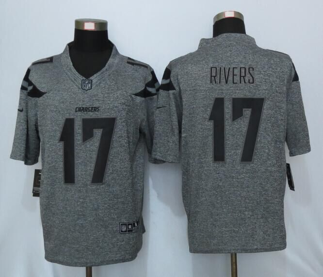 2016 New Nike San Diego Chargers 17 Rivers Gray Men's Stitched Gridiron Gray Limited Jersey