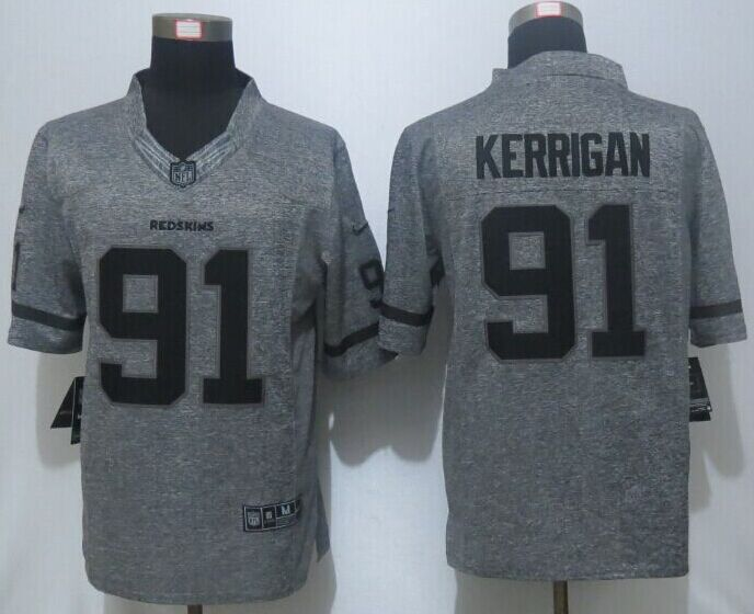 2016 New Nike Washington Redskins 91 Kerrigan Gray Men's Stitched Gridiron Gray Limited Jersey