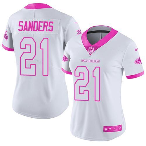 2016 Nike Atlanta Falcons 21 Deion Sanders White Pink Women Stitched NFL Limited Rush Fashion Jersey