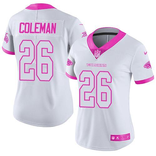 2016 Nike Atlanta Falcons 26 Tevin Coleman White Pink Women Stitched NFL Limited Rush Fashion Jersey