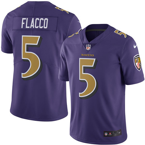 2016 Nike Baltimore Ravens 5 Joe Flacco Purple Mens Stitched NFL Limited Rush Jersey