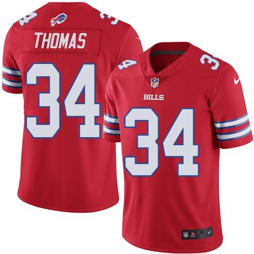 2016 Nike Buffalo Bills 34 Thurman Thomas Red Men Stitched NFL Limited Rush Jersey