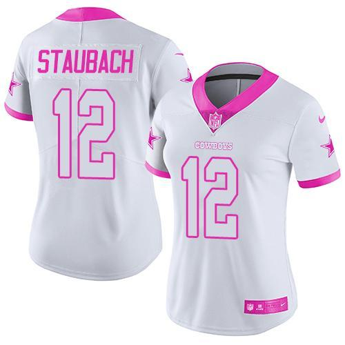 2016 Nike Dallas Cowboys 12 Roger Staubach White Pink Women Stitched NFL Limited Rush Fashion Jersey