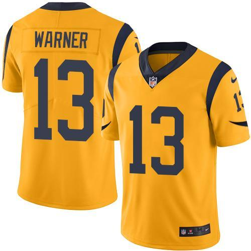 2016 Nike Los Angeles Rams 13 Kurt Warner Gold Men Stitched NFL Limited Rush Jersey