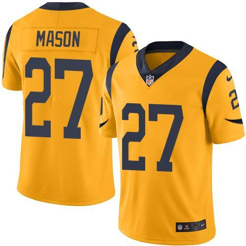 2016 Nike Los Angeles Rams 27 Tre Mason Gold Men Stitched NFL Limited Rush Jersey