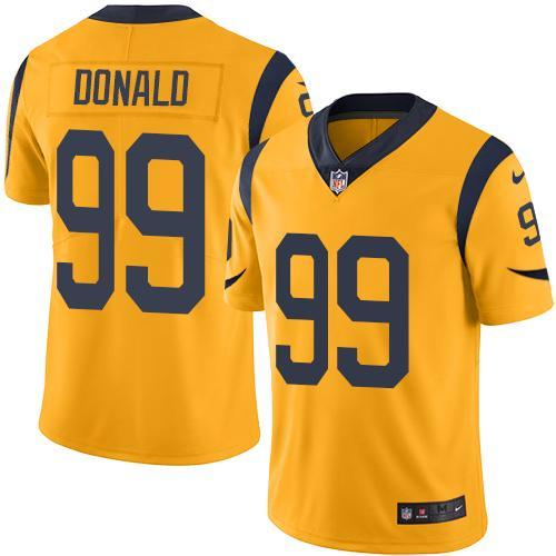 2016 Nike Los Angeles Rams 99 Aaron Donald Gold Men Stitched NFL Limited Rush Jersey