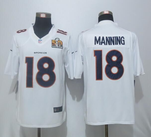 2016 Nike Men's Denver Broncos 18 Manning White Super Bowl 50 Game Event Jersey