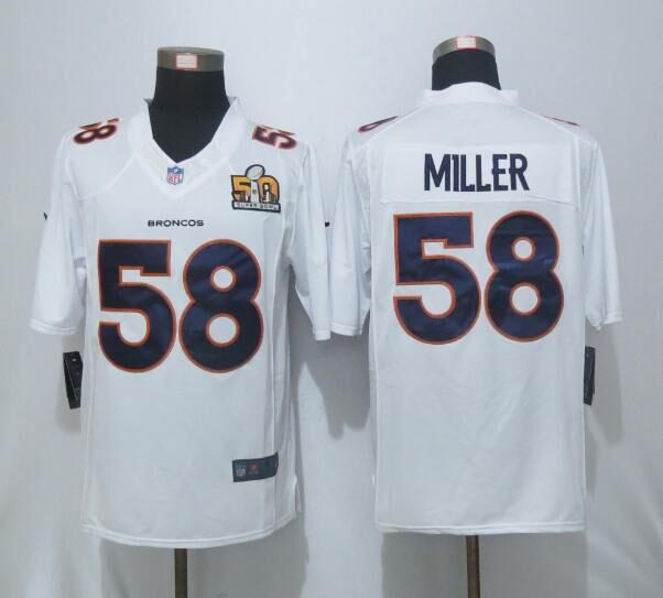 2016 Nike Men's Denver Broncos 58 Miller White Super Bowl 50 Game Event Jersey