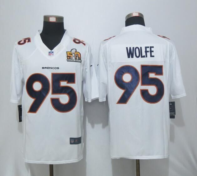 2016 Nike Men's Denver Broncos 95 Wolfe White Super Bowl 50 Game Event Jersey