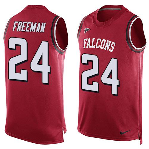 2016 Nike NFL Atlanta Falcons 24 Devonta Freeman Red Men Stitched Limited Tank Top Jersey