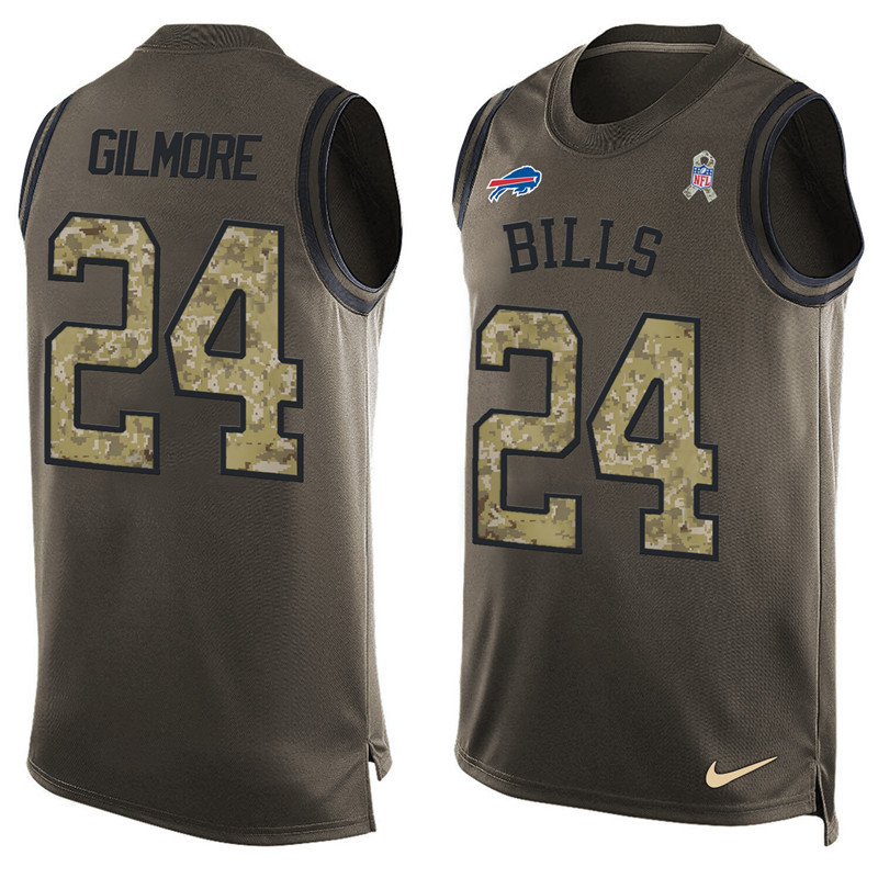 2016 Nike NFL Buffalo Bills 24 Gilmore men Olive Salute To Service Limited Tank Top Jersey