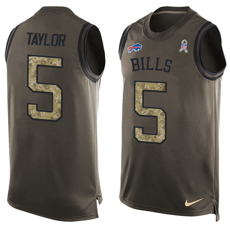 2016 Nike NFL Buffalo Bills 5 Taylor men Olive Salute To Service Limited Tank Top Jersey