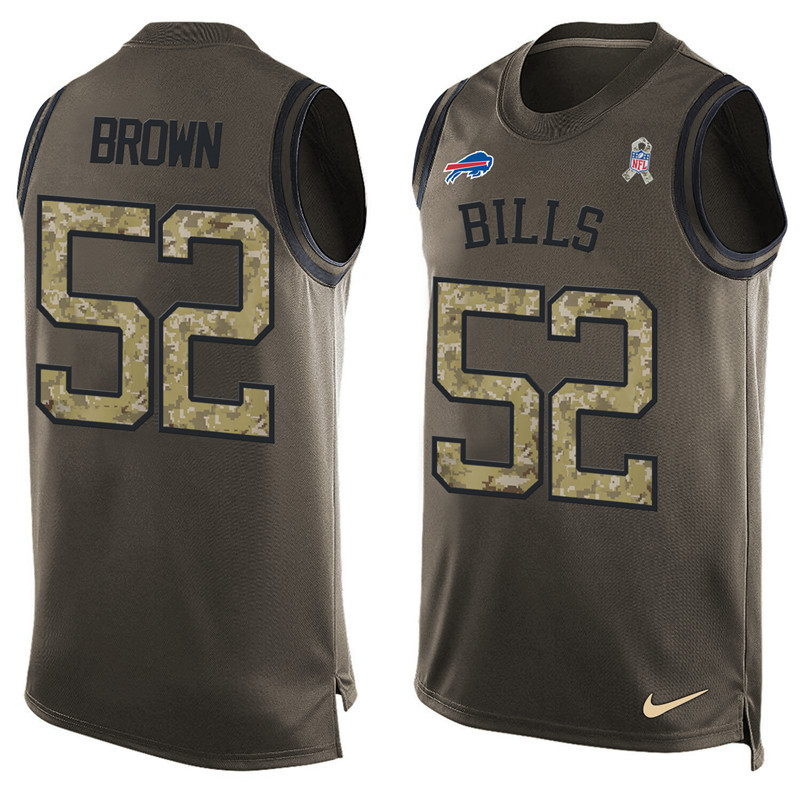 2016 Nike NFL Buffalo Bills 52 Brown men Olive Salute To Service Limited Tank Top Jersey