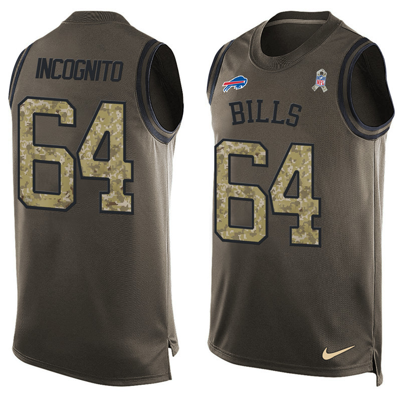 2016 Nike NFL Buffalo Bills 64 Incognito men Olive Salute To Service Limited Tank Top Jersey