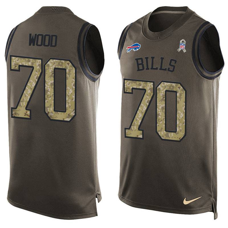 2016 Nike NFL Buffalo Bills 70 Wood men Olive Salute To Service Limited Tank Top Jersey