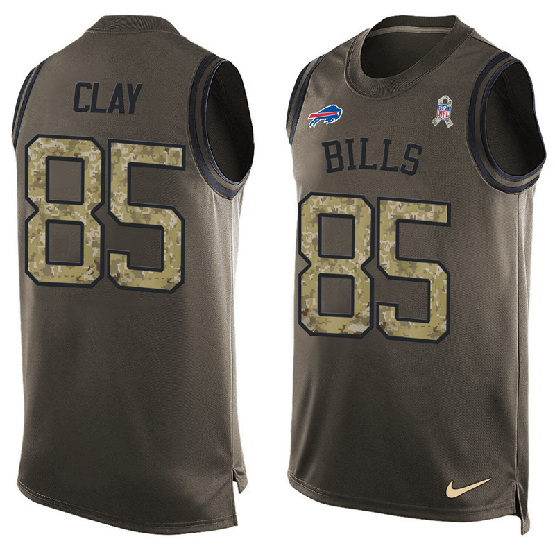 2016 Nike NFL Buffalo Bills 85 Clay men Olive Salute To Service Limited Tank Top Jersey