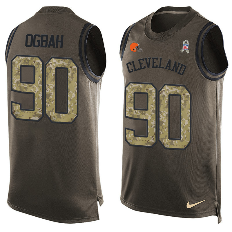 2016 Nike NFL Cleveland Browns 90 Ogbah men Olive Salute To Service Limited Tank Top Jersey