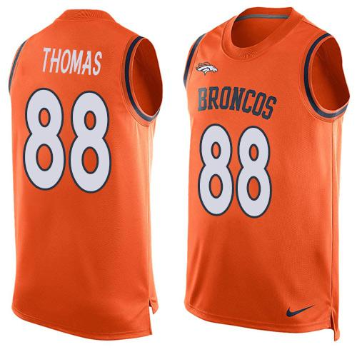 2016 Nike NFL Denver Broncos 88 Demaryius Thomas Orange Men Stitched Limited Tank Top Jersey