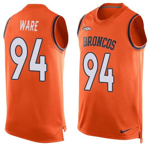 2016 Nike NFL Denver Broncos 94 DeMarcus Ware Orange Men Stitched Limited Tank Top Jersey