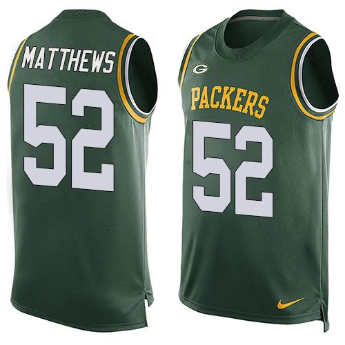2016 Nike NFL Green Bay Packers 52 Clay Matthews Green Men Stitched Limited Tank Top Jersey
