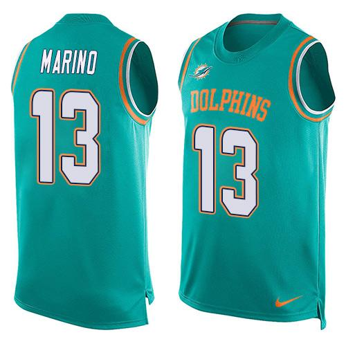 2016 Nike NFL Miami Dolphins 13 Dan Marino Green Men Stitched Limited Tank Top Jersey